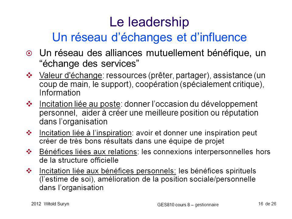Le leadership Un réseau d'échanges et d'influence