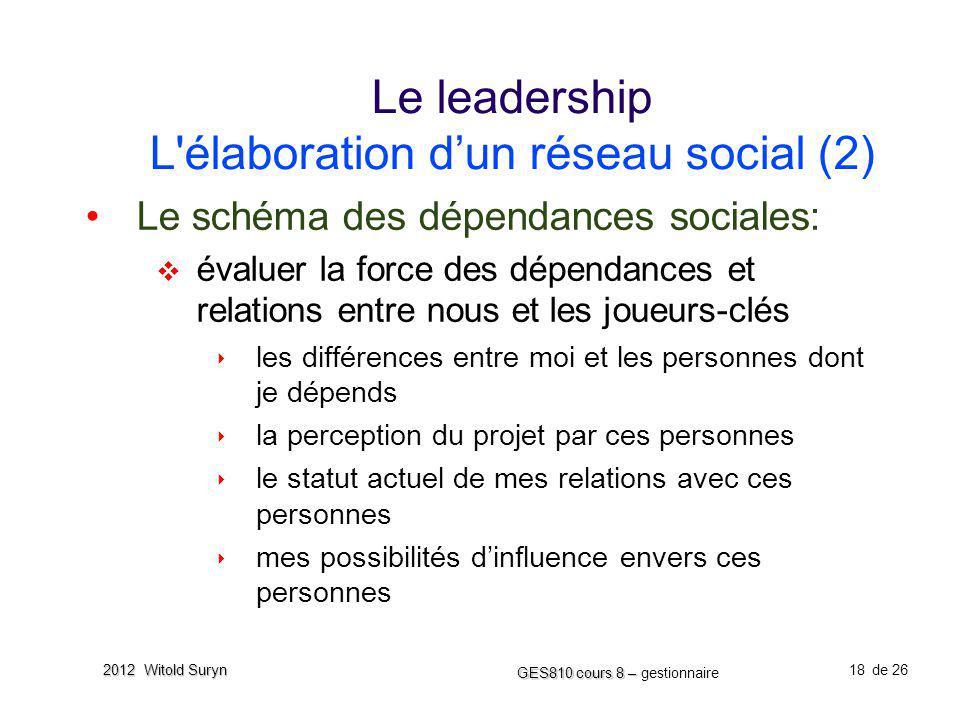 Le leadership L élaboration d'un réseau social (2)