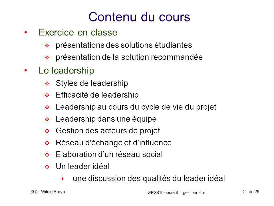 Contenu du cours Exercice en classe Le leadership