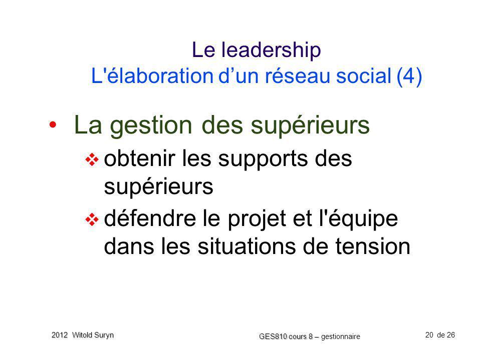 Le leadership L élaboration d'un réseau social (4)