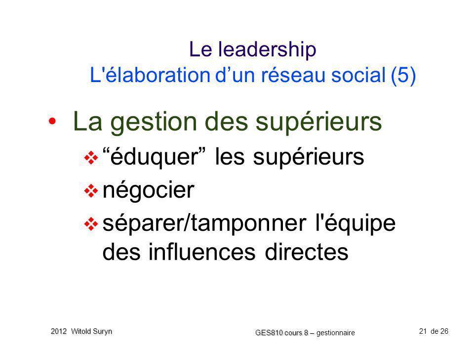 Le leadership L élaboration d'un réseau social (5)