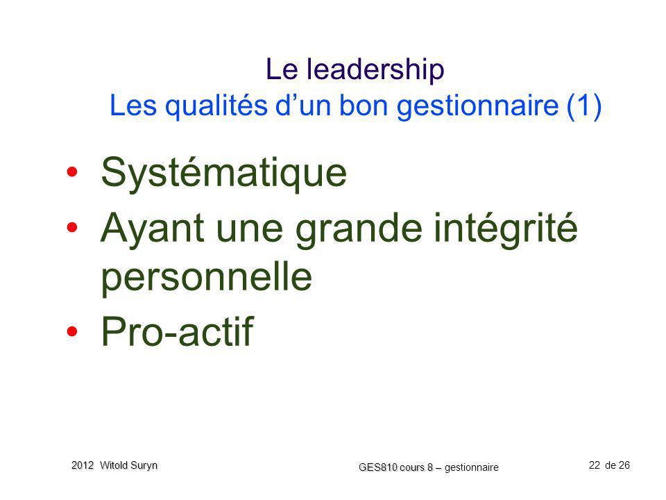 Le leadership Les qualités d'un bon gestionnaire (1)