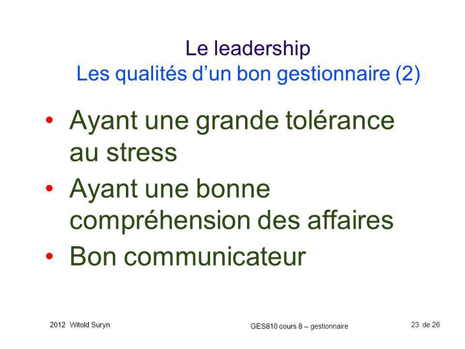 Le leadership Les qualités d'un bon gestionnaire (2)