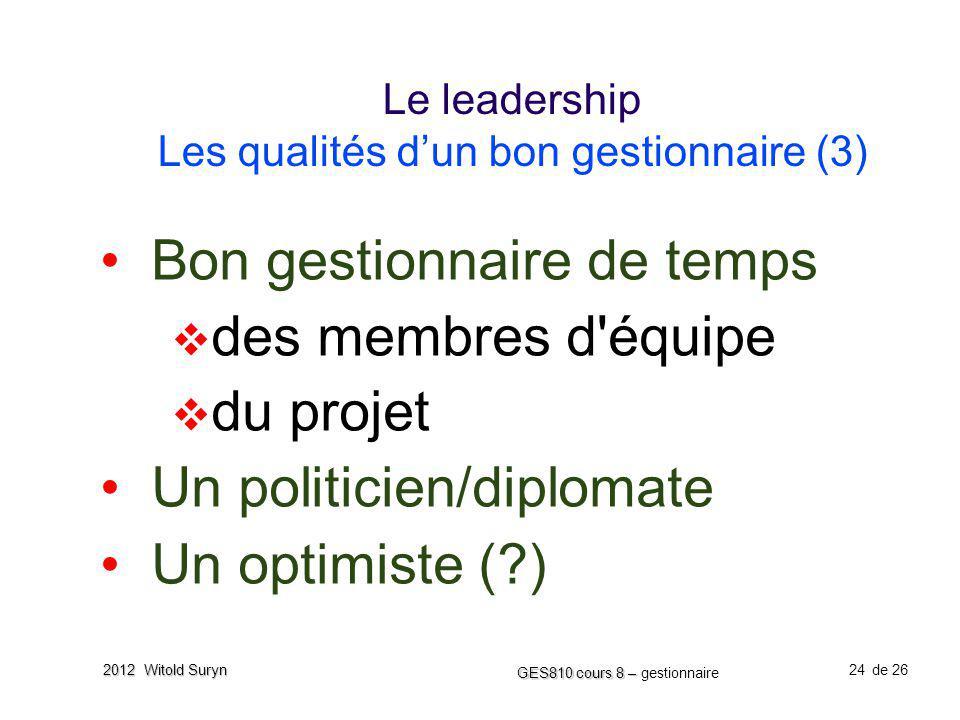 Le leadership Les qualités d'un bon gestionnaire (3)