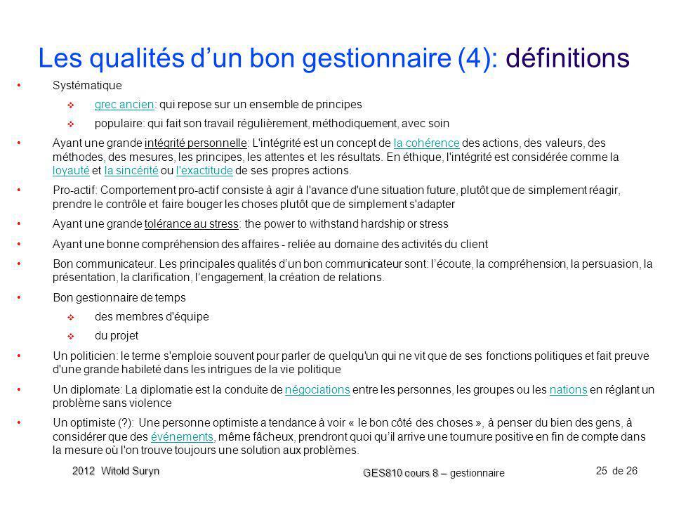 Les qualités d'un bon gestionnaire (4): définitions