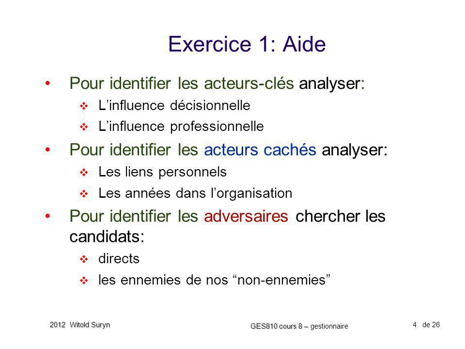 Exercice 1: Aide Pour identifier les acteurs-clés analyser: