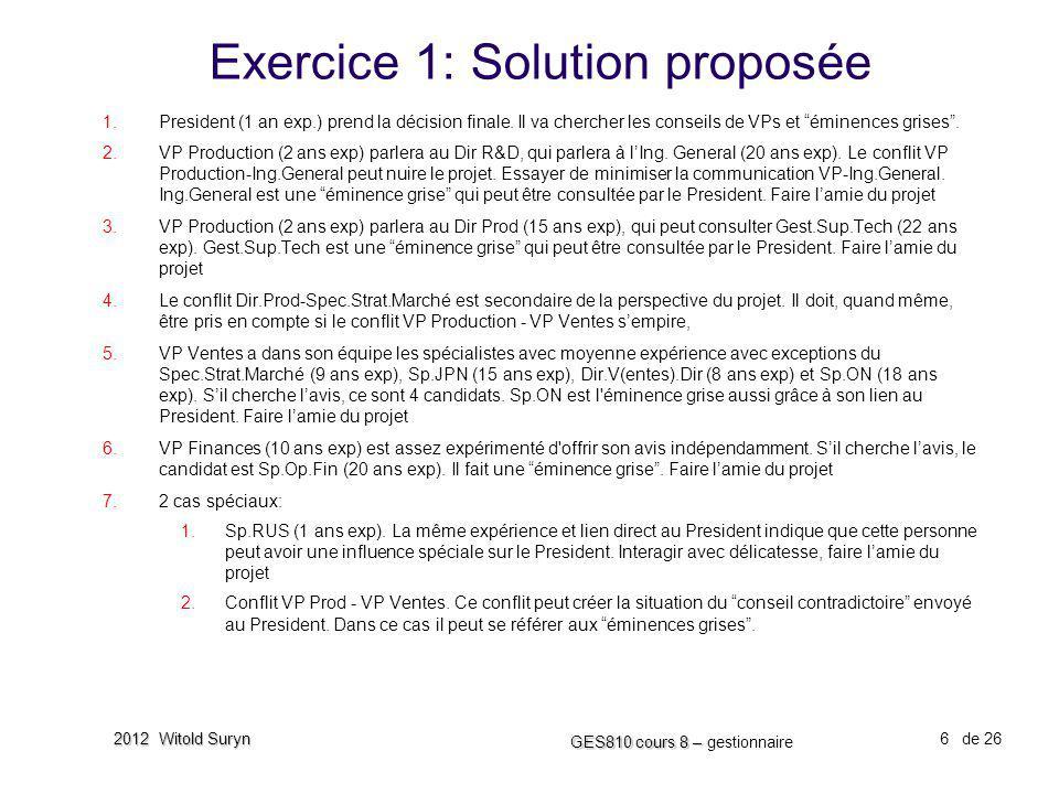 Exercice 1: Solution proposée