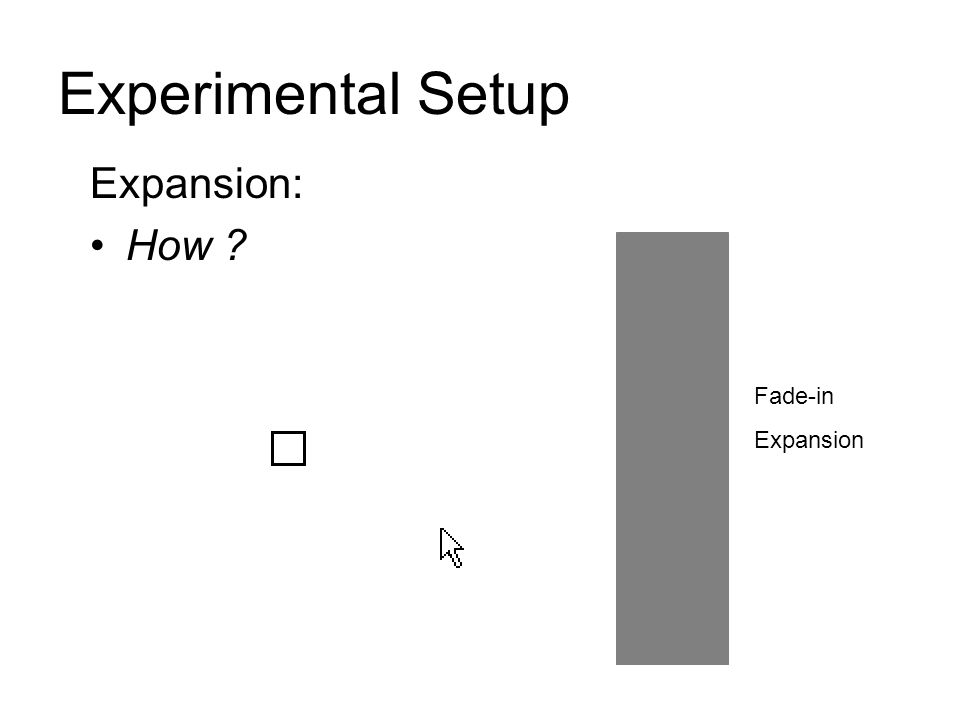 Experimental Setup Expansion: How Fade-in Expansion