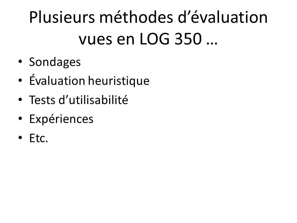 Plusieurs méthodes d'évaluation vues en LOG 350 …
