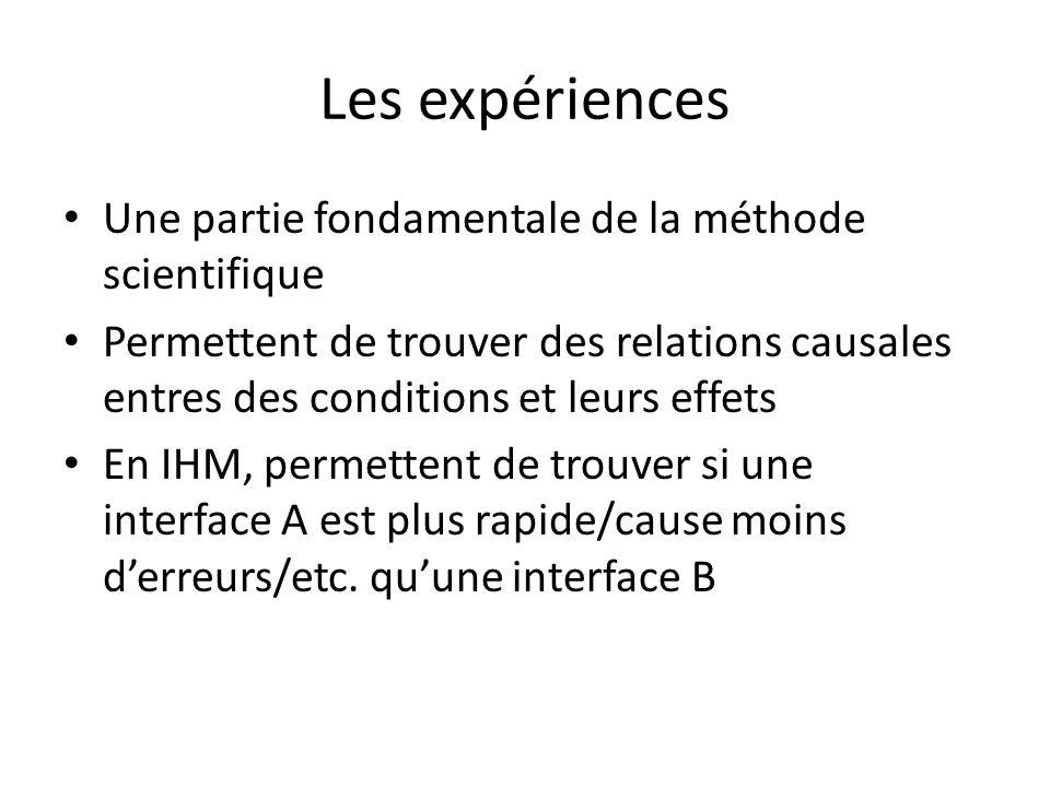 Les expériences Une partie fondamentale de la méthode scientifique