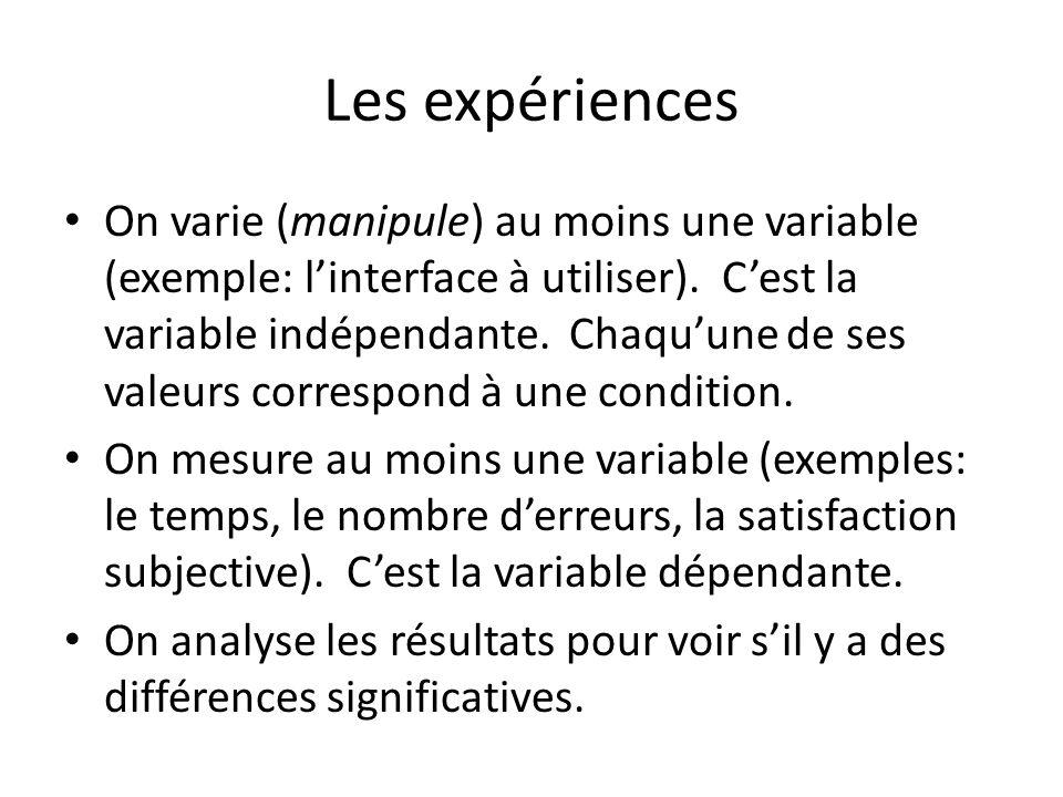 Les expériences