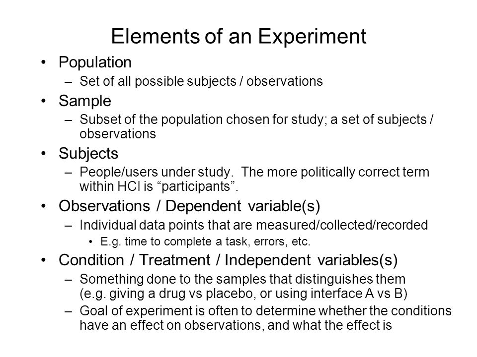 Elements of an Experiment