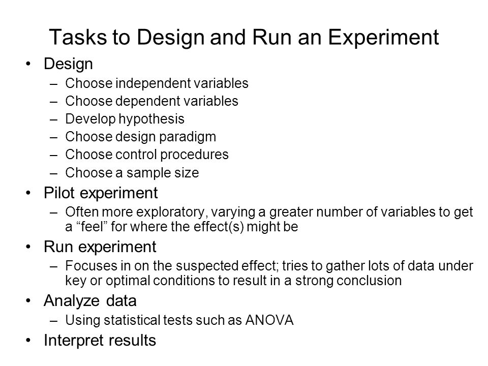 Tasks to Design and Run an Experiment