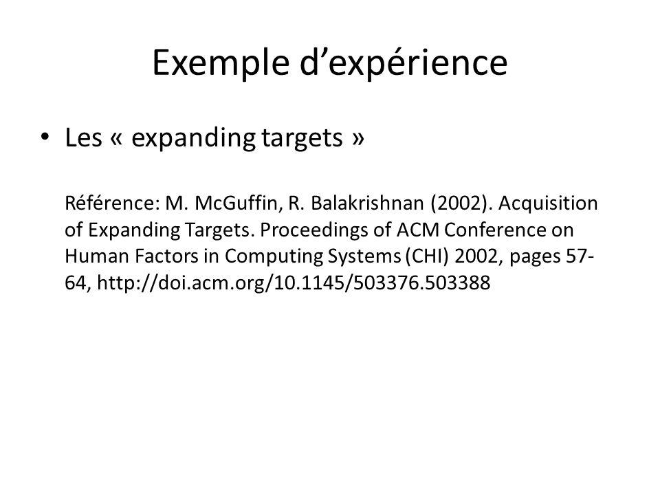 Exemple d'expérience