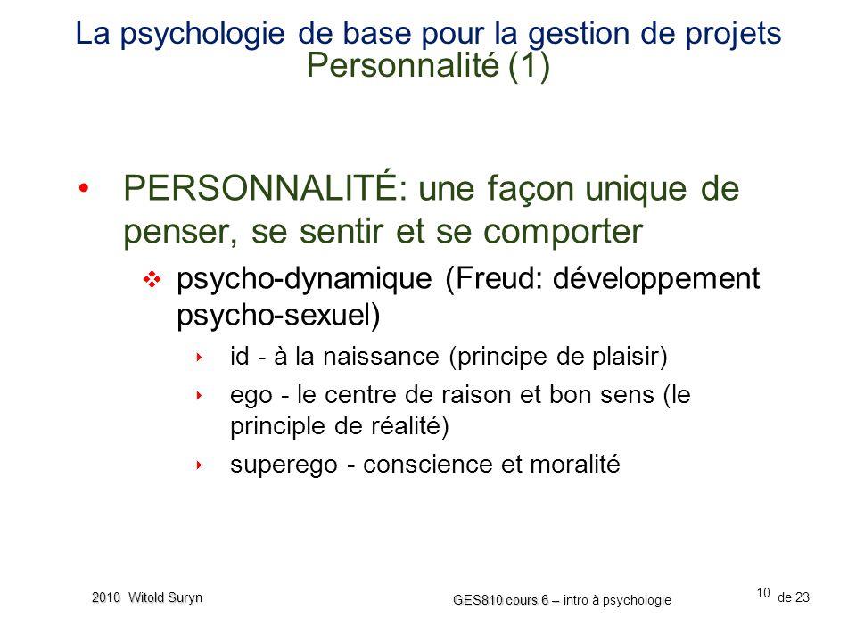 La psychologie de base pour la gestion de projets Personnalité (1)