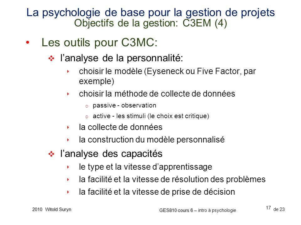 La psychologie de base pour la gestion de projets Objectifs de la gestion: C3EM (4)