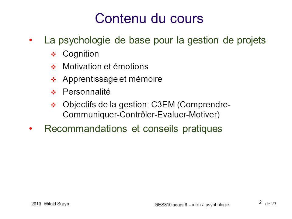 Contenu du cours La psychologie de base pour la gestion de projets