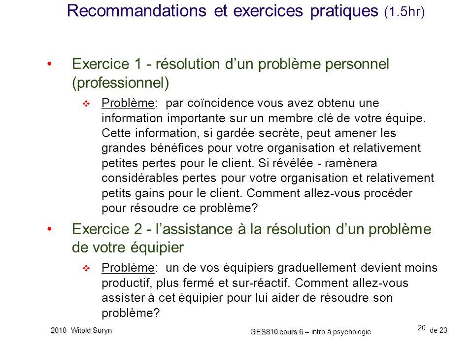 Recommandations et exercices pratiques (1.5hr)