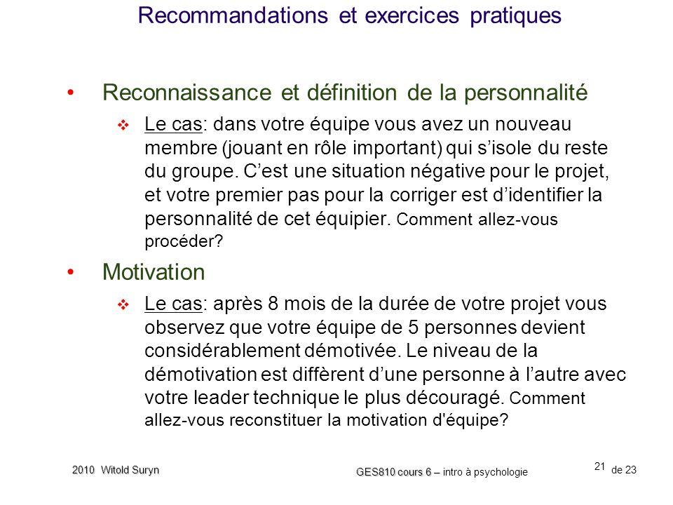 Recommandations et exercices pratiques