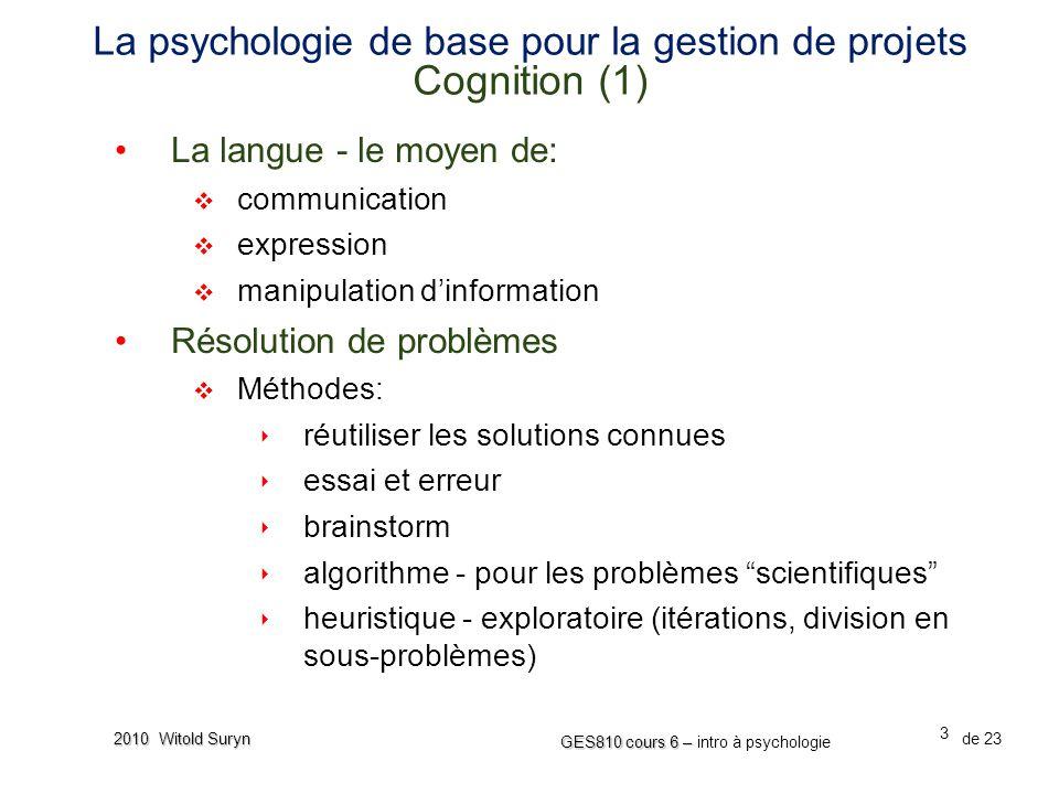 La psychologie de base pour la gestion de projets Cognition (1)