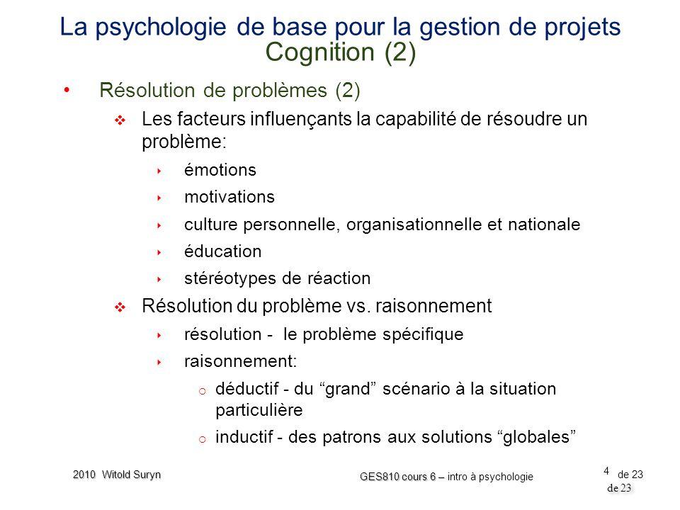 La psychologie de base pour la gestion de projets Cognition (2)
