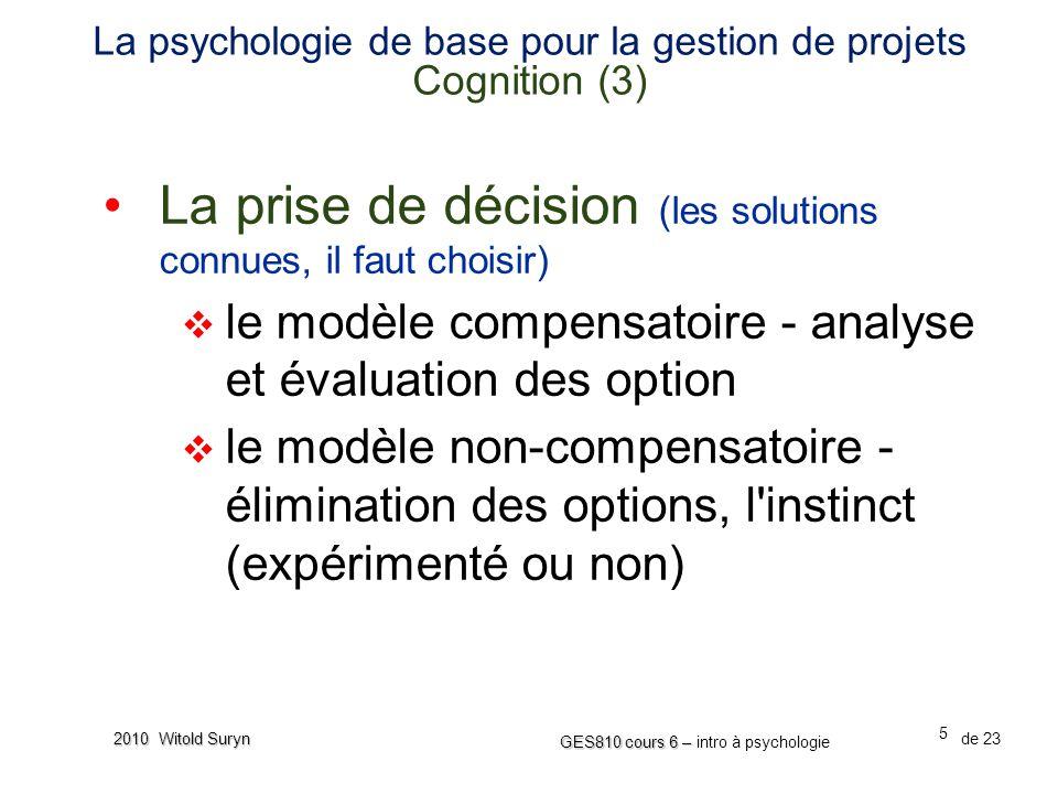 La psychologie de base pour la gestion de projets Cognition (3)