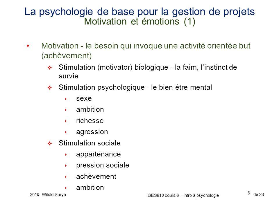 La psychologie de base pour la gestion de projets Motivation et émotions (1)
