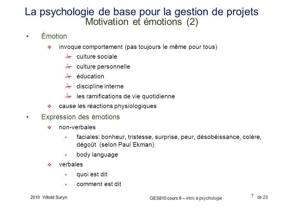 La psychologie de base pour la gestion de projets Motivation et émotions (2)