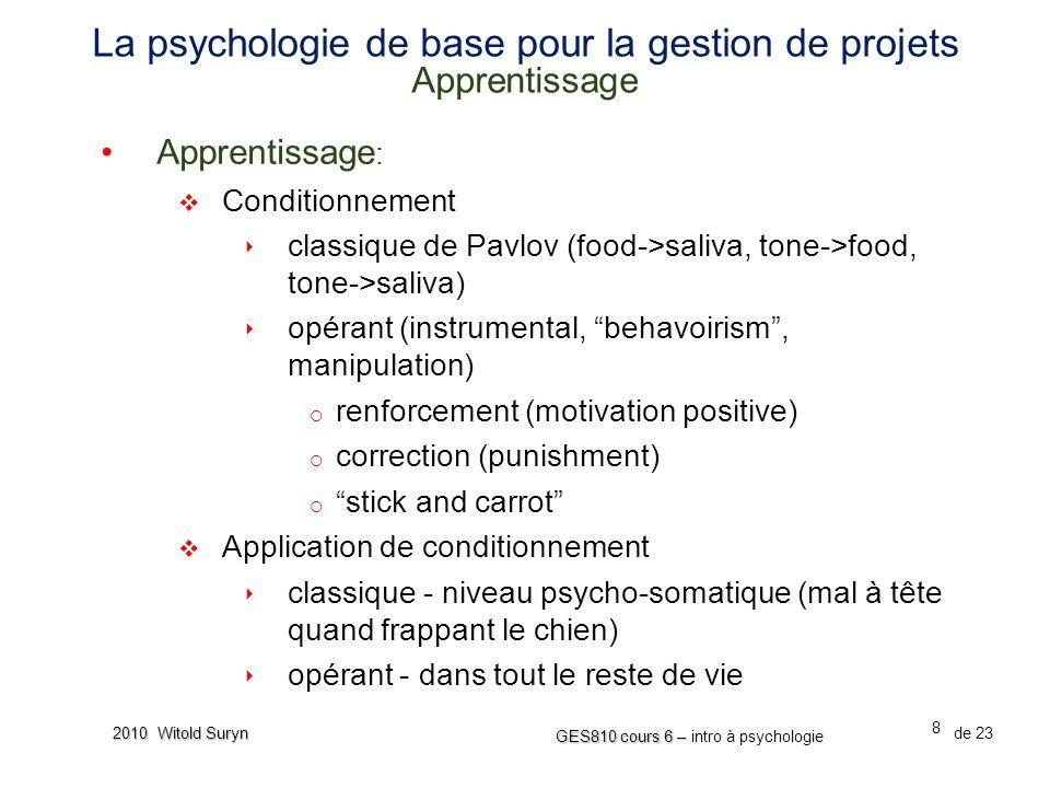 La psychologie de base pour la gestion de projets Apprentissage
