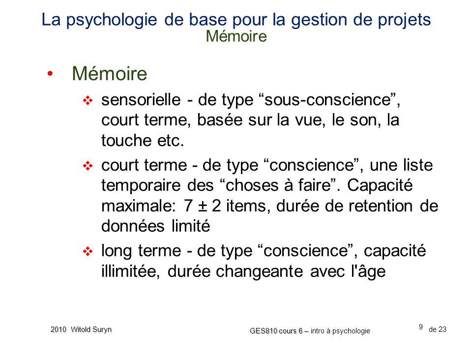 La psychologie de base pour la gestion de projets Mémoire