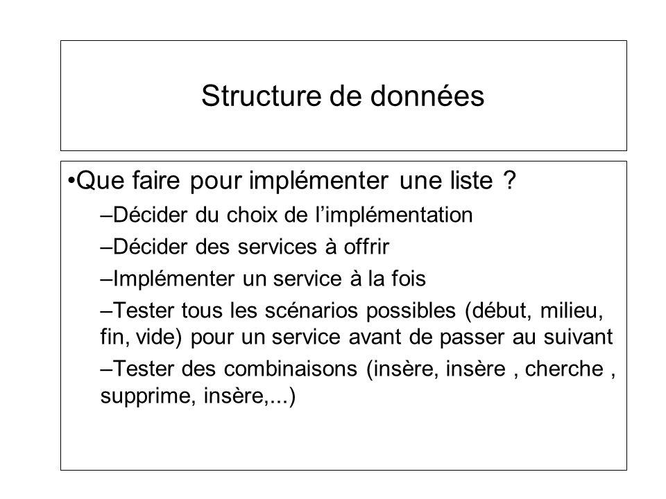 Structure de données Que faire pour implémenter une liste