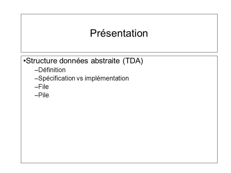 Présentation Structure données abstraite (TDA) Définition