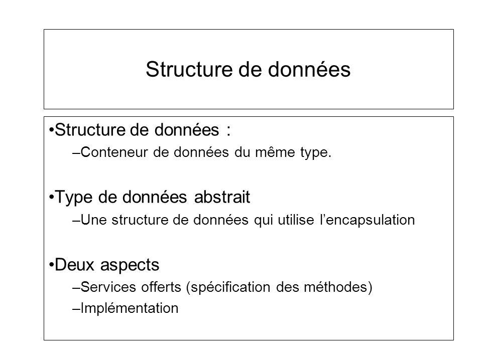 Structure de données Structure de données : Type de données abstrait