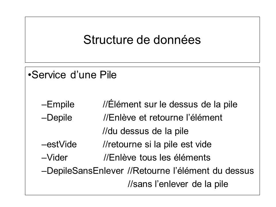 Structure de données Service d'une Pile