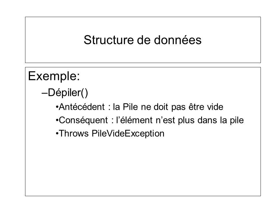 Structure de données Exemple: Dépiler()