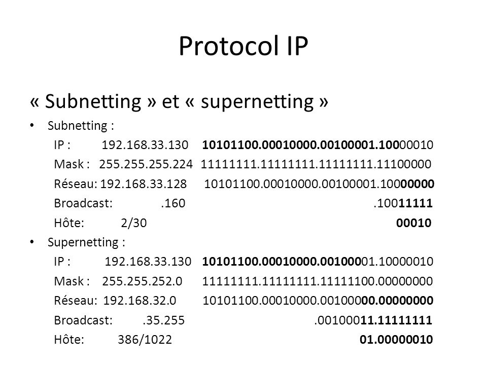 Protocol IP « Subnetting » et « supernetting » Subnetting :