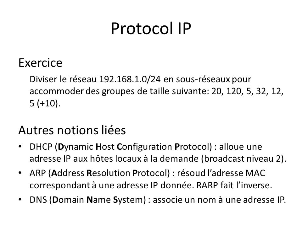 Protocol IP Exercice Autres notions liées