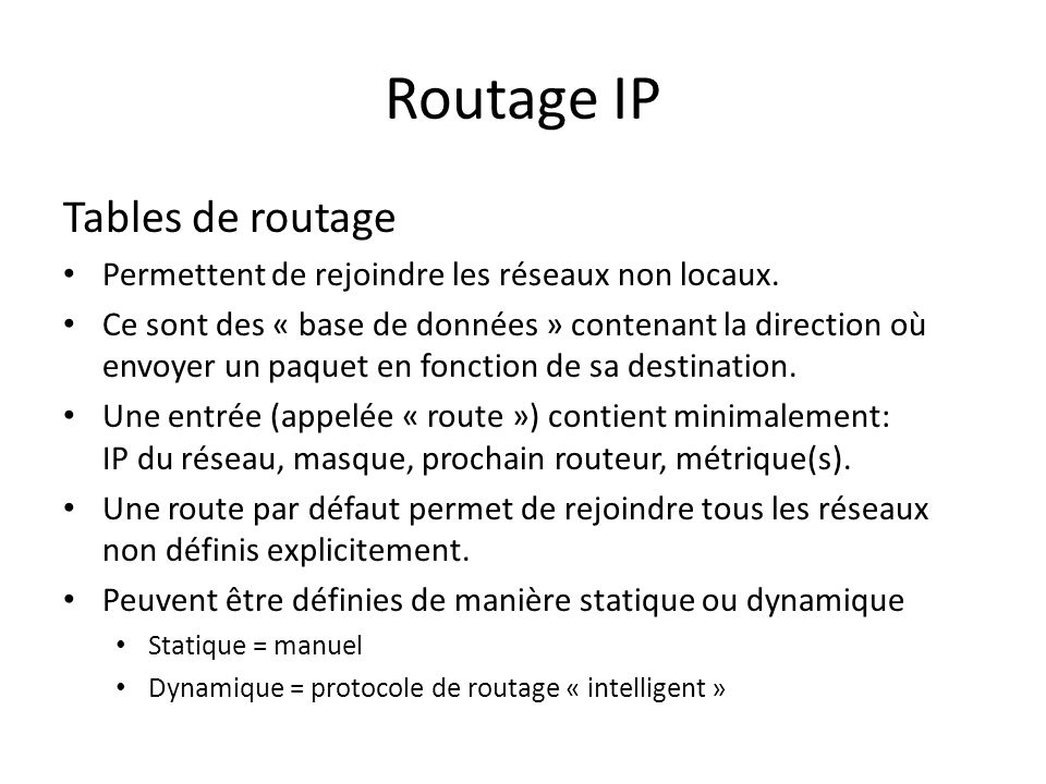 Routage IP Tables de routage