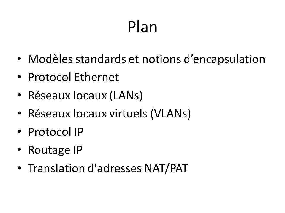 Plan Modèles standards et notions d'encapsulation Protocol Ethernet