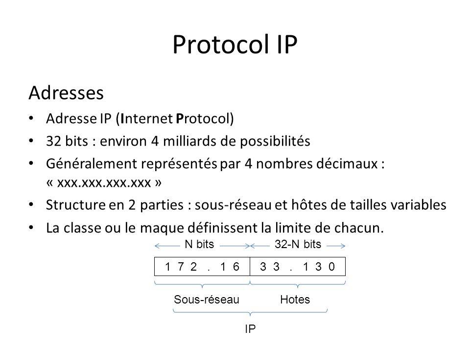 Protocol IP Adresses Adresse IP (Internet Protocol)