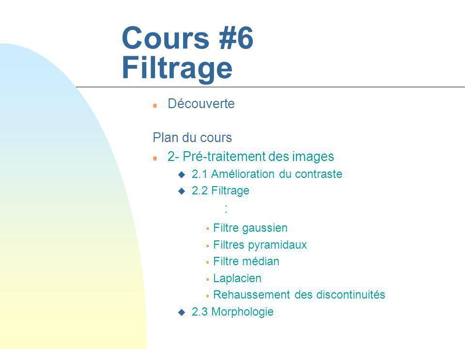 Cours #6 Filtrage Découverte Plan du cours