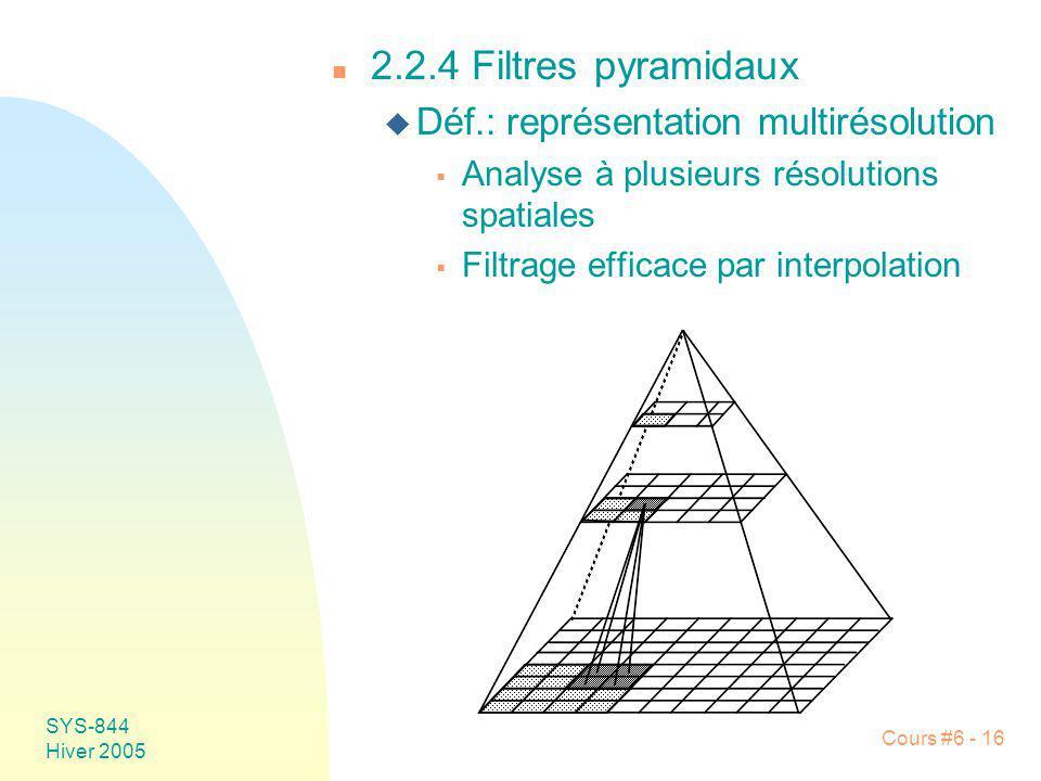2.2.4 Filtres pyramidaux Déf.: représentation multirésolution
