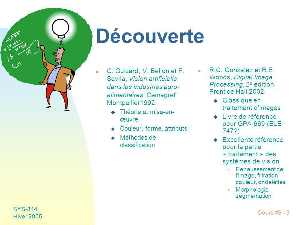 Découverte C. Guizard, V. Bellon et F. Sevila, Vision artificielle dans les industries agro-alimentaires, Cemagref Montpellier1992.