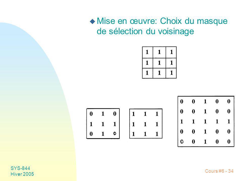 Mise en œuvre: Choix du masque de sélection du voisinage