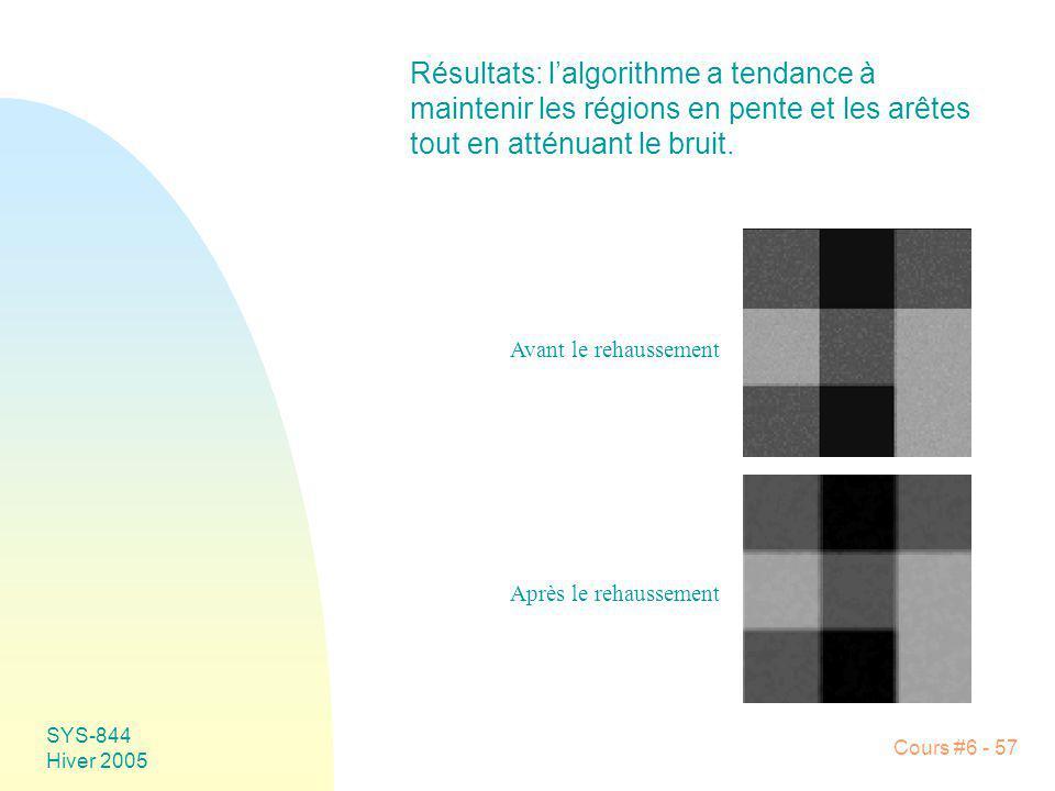 Résultats: l'algorithme a tendance à maintenir les régions en pente et les arêtes tout en atténuant le bruit.