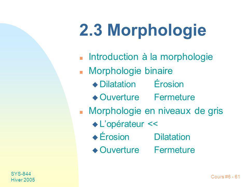 2.3 Morphologie Introduction à la morphologie Morphologie binaire