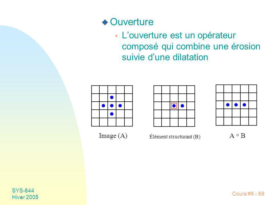 Ouverture L'ouverture est un opérateur composé qui combine une érosion suivie d'une dilatation. Image (A)