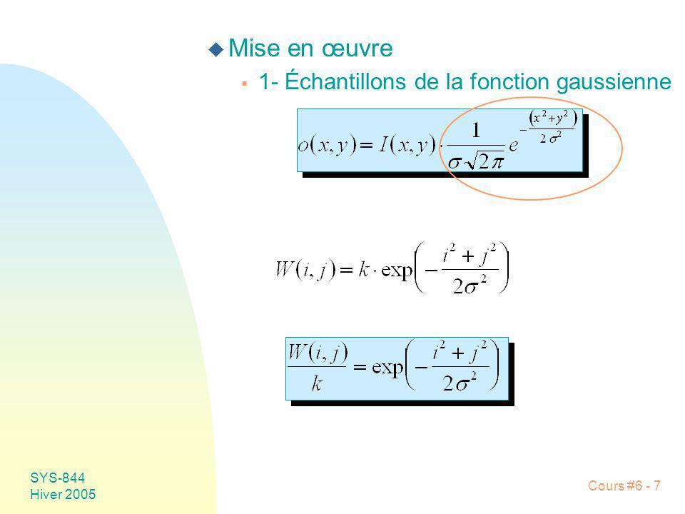 Mise en œuvre 1- Échantillons de la fonction gaussienne SYS-844