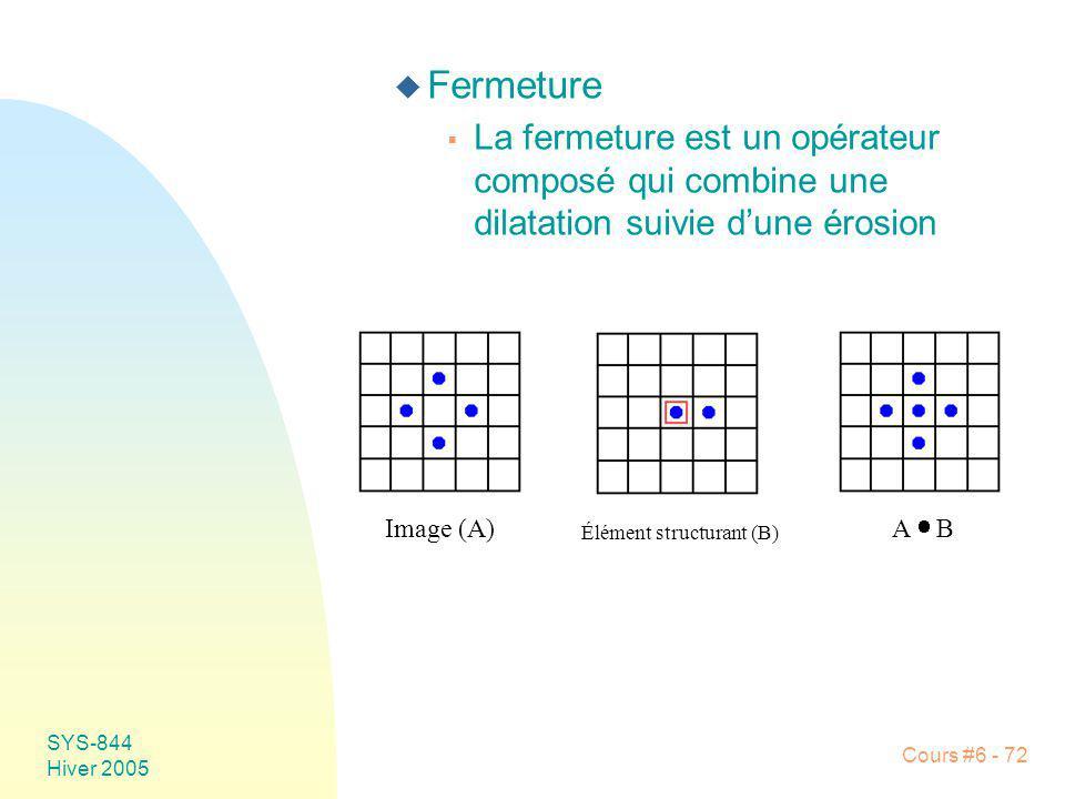 Fermeture La fermeture est un opérateur composé qui combine une dilatation suivie d'une érosion. Image (A)