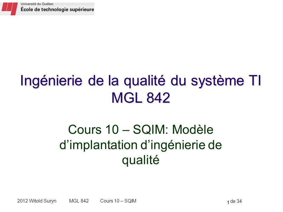 Ingénierie de la qualité du système TI MGL 842